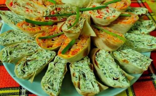 Закуски приготовленные из лаваша