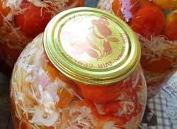 Маринованные помидоры с капустой на зиму