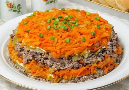 Салат с добавлением свиной печени.
