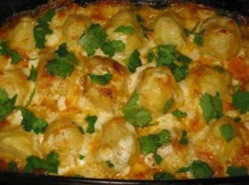 Картофель с сыром и яйцом