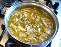 Суп из свеже-мороженных шампиньонов.