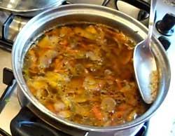Удалить из супа пену.