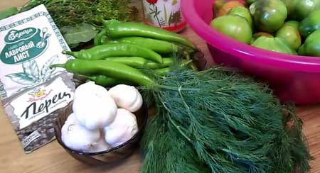 Продукты для маринования зеленых помидор